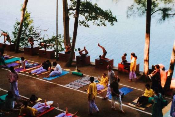 Sivananda session outdoors in India